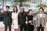Kim Kang-woo, Kim Hyo-jin, Im Sang-soo, Youn Yuh-jung, Baek Yoon-sik,  at The Taste of Money photocall at the 65th Cannes Film Festival France. Saturday 26th May 2012 in Cannes Film Festival, France.