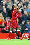 Georginio Wijnaldum of Liverpool celebrates after scoring his teams 3rd goal. Premier League match, Liverpool v Huddersfield Town at the Anfield stadium in Liverpool, Merseyside on Saturday 28th October 2017.<br /> pic by Chris Stading, Andrew Orchard sports photography.