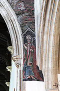 Medieval doom painting of the Day of Judgement, Church of Saint Thomas, Salisbury, Wiltshire, England, UK - Saint Osmond