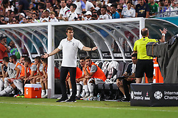 July 31, 2018 - Miami Gardens, Florida, USA - Real Madrid C.F. head coach Julen Lopetegui reacts to a sideline official's call during an International Champions Cup match between Real Madrid C.F. and Manchester United F.C. at the Hard Rock Stadium in Miami Gardens, Florida. Manchester United F.C. won the game 2-1. (Credit Image: © Mario Houben via ZUMA Wire)