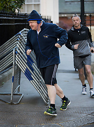 © Licensed to London News Pictures. 25/04/2017. London, UK. Foreign Secretary Boris Johnson sets off for his morning run before attending cabinet in Downing Street.  Photo credit: Peter Macdiarmid/LNP