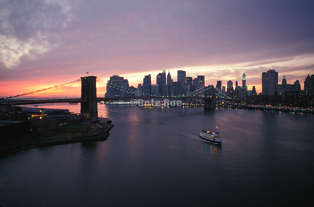 Brooklyn Bridge and downtown Manhattan at sunset