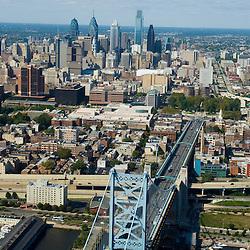 Aerial view of Old City, and Philadelphia Skyline, Benjamin FRANKLIN BRIDGE