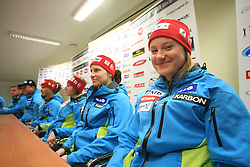 Ana Drev at press conference of Women Slovenian alpine team before the World Championship in Val d'Isere, France, on January 26, 2009, in Ljubljana, Slovenia. (Photo by Vid Ponikvar / Sportida).