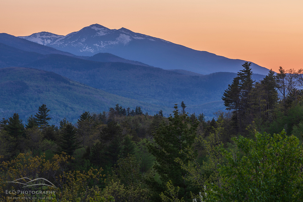 The White Mountains as seen from Tumbledown Dick Mountain in Gilead, Maine. Sunset.