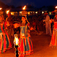 Asia, India, Jaipur. Cultural performance at Dera Amer