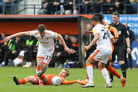Blackpool's Matty Virtue is tackled by Luton Town's Luke Berry<br /> <br /> Photographer David Shipman/CameraSport<br /> <br /> The EFL Sky Bet League One - Luton Town v Blackpool - Saturday 6th April 2019 - Kenilworth Road - Luton<br /> <br /> World Copyright © 2019 CameraSport. All rights reserved. 43 Linden Ave. Countesthorpe. Leicester. England. LE8 5PG - Tel: +44 (0) 116 277 4147 - admin@camerasport.com - www.camerasport.com