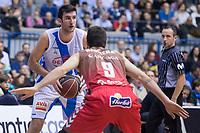 San Pablo Burgos Alex Barrera and Gipuzkoa Basket Joan Pardina during Liga Endesa match between San Pablo Burgos and Gipuzkoa Basket at Coliseum Burgos in Burgos, Spain. December 30, 2017. (ALTERPHOTOS/Borja B.Hojas)