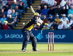 Owen Morgan of Glamorgan looks to strike the ball<br /> <br /> Photographer Simon King/Replay Images<br /> <br /> Vitality Blast T20 - Round 1 - Glamorgan v Somerset - Thursday 18th July 2019 - Sophia Gardens - Cardiff<br /> <br /> World Copyright © Replay Images . All rights reserved. info@replayimages.co.uk - http://replayimages.co.uk