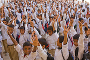School pupils at a morning attendance meeting before school in Shibam, Hadhramawt, Yemen.