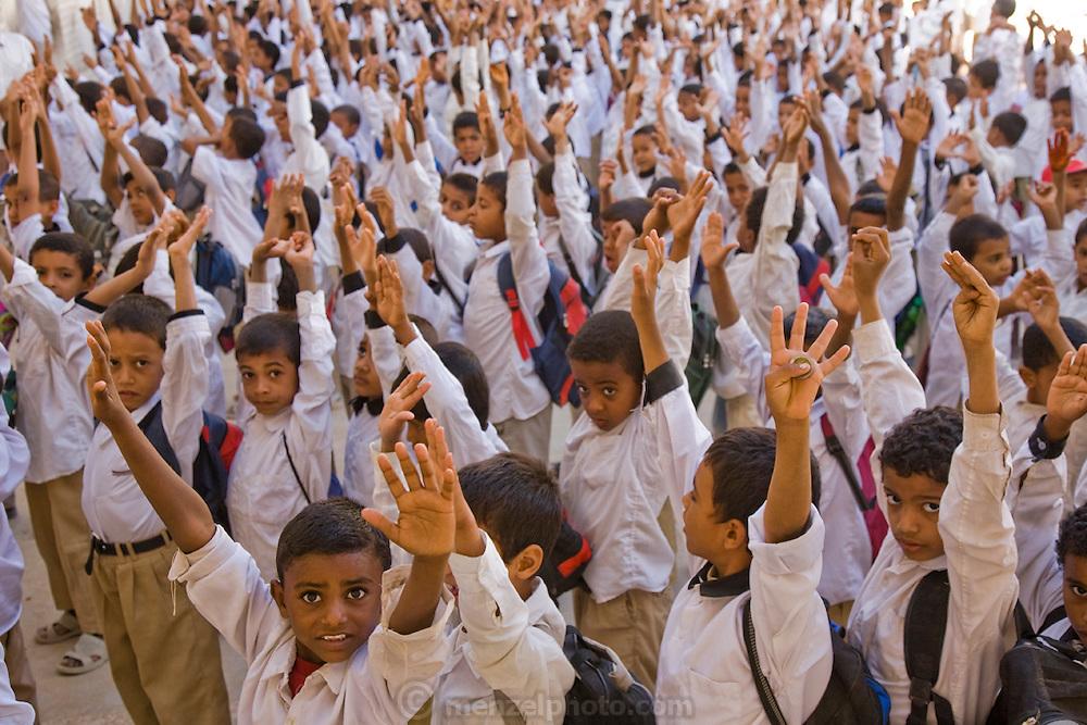 School pupils at a morning attendance meeting before school in Shibam, Hadhramawt, Yemen.