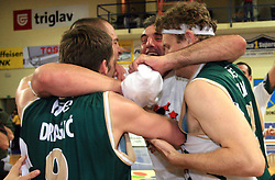 Celebration of Union Olimpija`s players Goran Dragic, Marko Milic, Sasa Doncic and Miha Zupan after fourth (last) final match of UPC Telemach league and Slovenian  National Championship  between KK Helios Domzale, Domzale and Union Olimpija, Ljubljana, Slovenia, on June 7, 2008, in Komunalni center hall in Domzale. Match was won by Union Olimpija 84:60 and Olimpija became National Champion 2007/2008 fourteen times in history of Slovenia. (Photo by Vid Ponikvar / Sportal Images)