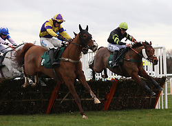 Dyliev ridden by James Bowen (left) clear the last flight before going on to win The Trial Racing TV Free Now NovicesÕ Handicap Hurdle Race run at Warwick Racecourse.