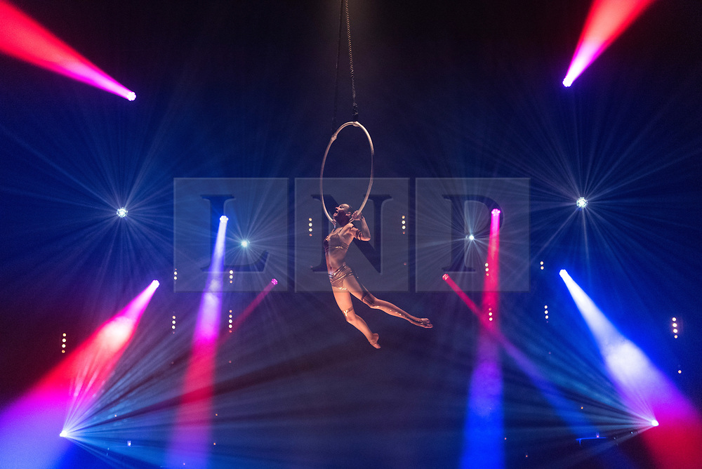 © Licensed to London News Pictures. 27/11/2017. London, UK. Lea Hinz on the Arial Hoops performs in the La Soiree photocall at the Aldwych Theatre. The Olivier award winning company show runs 24 November 2017 – 3 February 2018. Photo credit: Ray Tang/LNP