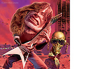 Caricature: Dave Mustaine, with Vic Rattlehead celebrates the 25th anniversary of the album Peace Sells . . . but Who's Buying?. Photoshop for Penthouse Full Frontal Entertainment Review.