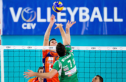 Alen Sket of ACH vs Wout Wijsmans of Cuneo during volleyball match between ACH Volley Ljubljana and Bre Banca Lannutti Cuneo (ITA) in Playoff 12 game of CEV Champions League 2012/13 on January 15, 2013 in Arena Stozice, Ljubljana, Slovenia. (Photo By Vid Ponikvar / Sportida.com)