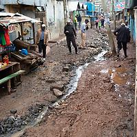 Street scene in Mukuru Kwa Njenga, Nairobi. Slum areas like this suffer from poor sanitation, particularly in rainy season.
