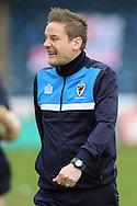 Neal Ardley, the AFC Wimbledon manager laughing as he approaches the touchline before the start of the 2nd half. Skybet football league two match, Wycombe Wanderers  v AFC Wimbledon at Adams Park  in High Wycombe, Buckinghamshire on Saturday 2nd April 2016.<br /> pic by John Patrick Fletcher, Andrew Orchard sports photography.