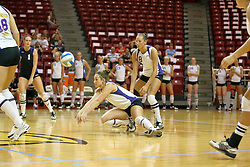 06 October 2007:  Brittany Bakker goes to both knees to grab a dig. The Illinois State Redbirds pulled out a photo finish in a match that saw the 4th and 5th games extend into extra point play. Northern Iowa Panthers visited the Illinois State Redbirds at Redbird Arena on the campus of Illinois State University in Normal Illinois.