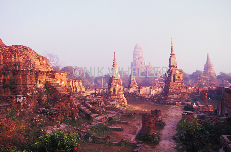 Temple scene in Ayuthiya, ancient capital city of Thailand