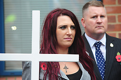 © Licensed to London News Pictures.04/11/2017.<br /> BROMLEY, UK.<br /> deputy Jayda Fransen<br /> Britain First hold a Persecuted Patriots Rally outside Bromley Police Station, Bromley South.Party Leader Paul Golding and his deputy Jayda Fransen have to sign on bail every Saturday 2pm at Bromley Police station.<br /> Photo credit: Grant Falvey/LNP