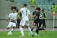 Kady (20) of Qarabag FK fights for the ball with Tomas Travares (30) of FC Basel  during the UEFA Europa Conference League group H match between Qarabag FK and FC Basel at  on September 16, 2021 in Baku, Azerbaijan.