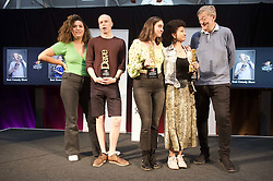 Winners of the 2019 Edinburgh Comedy Awards Jordan Brookes (best show), Catherine Cohen (best newcomer) and Jessica Brookes (panel prize) with hosts and previous winners Rose Matafeo (extreme left) and Stephen Fry (extreme right) at the Dovecot Studios. Pic Terry Murden @edinburghelitemedia