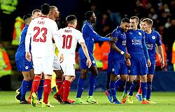 Samir Nasri of Sevilla tries to square up to Jamie Vardy of Leicester City - Mandatory by-line: Robbie Stephenson/JMP - 14/03/2017 - FOOTBALL - King Power Stadium - Leicester, England - Leicester City v Sevilla - UEFA Champions League round of 16, second leg