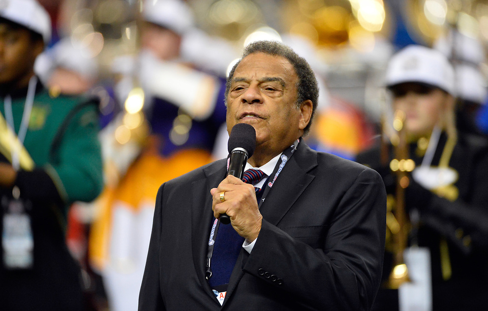 Andrew Young, the former mayor of Atlanta, gives the benediction before the first half of the Ole Miss vs. TCU Chick-fil-A Peach Bowl football game at the Georgia Dome on December 31, 2014. David Tulis / Abell Images for the Chick-fil-A Bowl