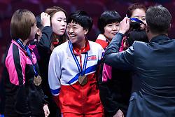 May 5, 2018 - Halmstad, SVERIGE - 180505 Korea jublar pÃ¥ podiet med sina bronsmedaljer efter damernas final mellan Kina och Japan under dag 7 av Lag-VM i Bordtennis den 5 maj 2018 i Halmstad  (Credit Image: © Carl Sandin/Bildbyran via ZUMA Press)