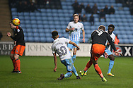 Caolan Lavery of Sheffield Utd shoots and hits the post during the English League One match at the Rioch Arena Stadium, Coventry. Picture date: December 15th, 2016. Pic Simon Bellis/Sportimage