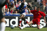 Fotball<br /> Treningskamp<br /> Frankrike v Andorra<br /> 28. mai 2004<br /> Foto: Digitalsport<br /> NORWAY ONLY<br /> LOUIS SAHA (FRA) / IDEFONS LIMA (AND)