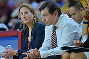 March 18, 2016; Tempe, Ariz;  New Mexico State Aggies head coach Mark Trakh stares at the floor during a game between No. 2 Arizona State Sun Devils and No. 15 New Mexico State Aggies in the first round of the 2016 NCAA Division I Women's Basketball Championship in Tempe, Ariz. The Sun Devils defeated the Aggies 74-52.