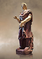 Statue of a Captive Barbarian - a 2nd century Ad Roman sculpture made in Porphyry and white marble from Rome, Italy. The head and hands do not belong to the statue. The head is wearing a hat Phyrigian hat and recalls the same style as the famous Farnese Prisoners statues who were defeated Dacians from the Forum of Trajan (98-117 AD). The statue was from the facade of the Villa Borghese. The Borghese Collection Inv No. MR 332 or Ma 1381, Louvre Museum, Paris. .<br /> <br /> If you prefer to buy from our ALAMY STOCK LIBRARY page at https://www.alamy.com/portfolio/paul-williams-funkystock/greco-roman-sculptures.html- Type -    Louvre    - into LOWER SEARCH WITHIN GALLERY box - Refine search by adding a subject, place, background colour,etc.<br /> <br /> Visit our CLASSICAL WORLD HISTORIC SITES PHOTO COLLECTIONS for more photos to download or buy as wall art prints https://funkystock.photoshelter.com/gallery-collection/The-Romans-Art-Artefacts-Antiquities-Historic-Sites-Pictures-Images/C0000r2uLJJo9_s0c