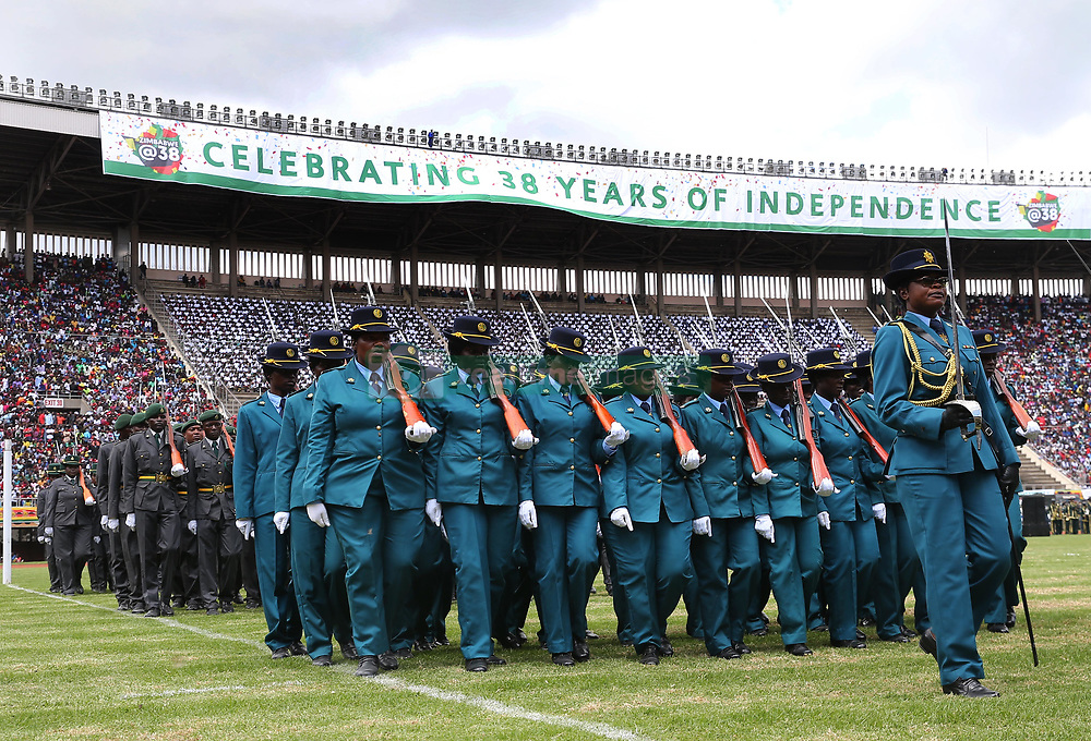 April 18, 2018 - Zimbabwe, Harare - Zimbabwean soldiers get ready for inspection during a celebration marking the nation's 38th independence anniversary at the National Sports Stadium in Harare. Zimbabwean President Mnangagwa led the nation in commemorating the 38th independence anniversary, five months after he took over power from former President Mugabe. (Credit Image: © Shaun Jusa/Xinhua via ZUMA Wire)