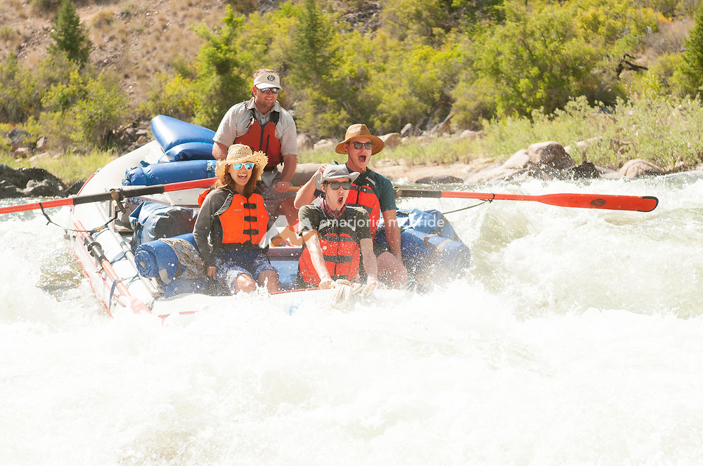 Excitement and big water while Rafting Tappan Falls on the Middle Fork of the Salmon River, Idaho.