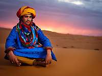 MERZOUGA, MOROCCO - CIRCA MAY 2018: Portrait of Berber of the Sahara Desert