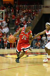 """03 February 2007: Daniel Ruffin storms around Keith """"Boo"""" Richardson. In what is locally referred to as the War on Seventy Four, the Bradley Braves defeated the Illinois State University Redbirds 70-62 on Doug Collins Court inside Redbird Arena in Normal Illinois."""