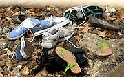 Eton,  GREAT BRITAIN. Shoe collection at the end of the boating dock, Eton Schools' Regatta, Eton Rowing Centre, Dorney Lake. [Finish of cancelled National Schools Regatta], Saturday, 07/06/2008  [Mandatory Credit:  Karon PHILLIPS / Intersport Images]. Rowing Courses, Dorney Lake, Eton. ENGLAND