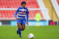 Reading forward Danielle Carter (18) runs with the ball during the FA Women's Super League match between Manchester United Women and Reading LFC at Leigh Sports Village, Leigh, United Kingdom on 7 February 2021.