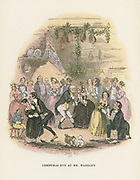 Christmas Eve at Mr Wardle's. Mr Pickwick kisses a lady under the mistletoe bough. Illustration by 'Phiz' (Hablot Knight Browne - 1815-1882) for Charles Dickens 'Posthumous Papers of the Pickwick Club', originall published in London, 1836-1837.