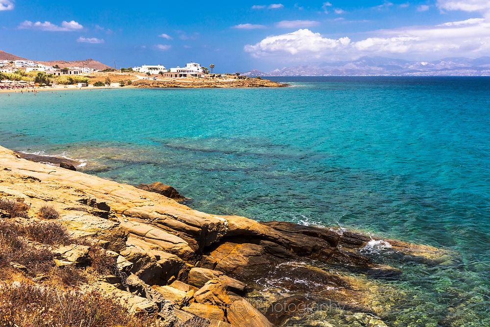 Piso Livadi, Paros, Greece - July 2021: Punda Beach
