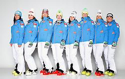 20.10.2012, Messehalle, Innsbruck, AUT, OeSV, Ski Alpin, Fototermin, im Bild vl.nr. Stefanie Koehle, Elisabeth Goergl, Marlies Schild, Kathrin Zettel, Anna Fenninger, Nicole Hosp, Michaela Kirchgasser und Andrea Fischbacher // during the official Portrait and Teamshooting of the Austrian Ski Federation (OeSV) at the Messehalle, Innsbruck, Austria on 2012/10/20. EXPA Pictures © 2012, PhotoCredit: EXPA/ OeSV/ Erich Spiess