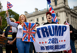 © Licensed to London News Pictures. 05/09/2018. London, UK. NOTE: FILE PHOTO. Max Hammet-Millay (right) pictured at a Brexit demonstration in September. Hammet-Millay has been accused of being part of the group calling Conservative MP Anna Soubry a 'Nazi' on Monday this week. [ORIGINAL CAPTION: Anti-Brexit demonstrators and some far-right sympathisers campaign outside the Houses of Parliament, calling for Britain's immediate exit from the EU, and the re-instating of former Foreign Secretary Boris Johnson.] Photo credit : Tom Nicholson/LNP