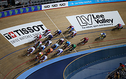 General view during the Men's Omnium Scratch Race 1/4 during day three of the Tissot UCI Track Cycling World Cup at Lee Valley VeloPark, London.