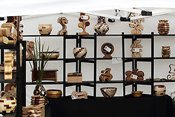 11 July 2015:  Woodwork items crated by Thomas Pabst of Huntertwon Indiana displayed at the 2015 Sugar Creek Arts Festival in Uptown Normal Illinois