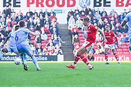 Cauley Woodrow of Barnsley (9) scores a goal to make the score 2-1 during the EFL Sky Bet League 1 match between Barnsley and Coventry City at Oakwell, Barnsley, England on 30 March 2019.