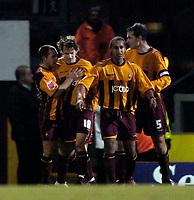 Photo: Jed Wee.<br />Bradford City v Swansea City. Coca Cola League 1. 14/01/2006.<br />Bradford celebrate their equaliser.