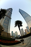 The Jin Mao Tower (left) and Shanghai World Financial Center (right), Lujiazui Financial District, Pudong area, Shanghai, China