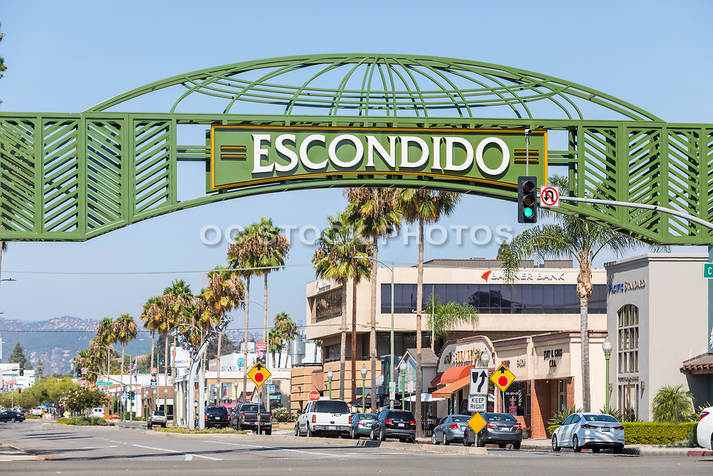 Welcoming Arch Over Grand Ave in Downtown Escondido